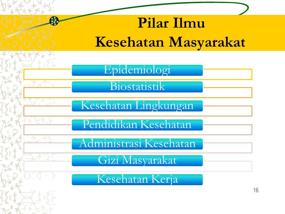 16 Pilar Ilmu Kesehatan Masyarakat EpidemiologiBiostatistikKesehatan LingkunganPendidikan KesehatanAdministrasi KesehatanGizi MasyarakatKesehatan Kerja