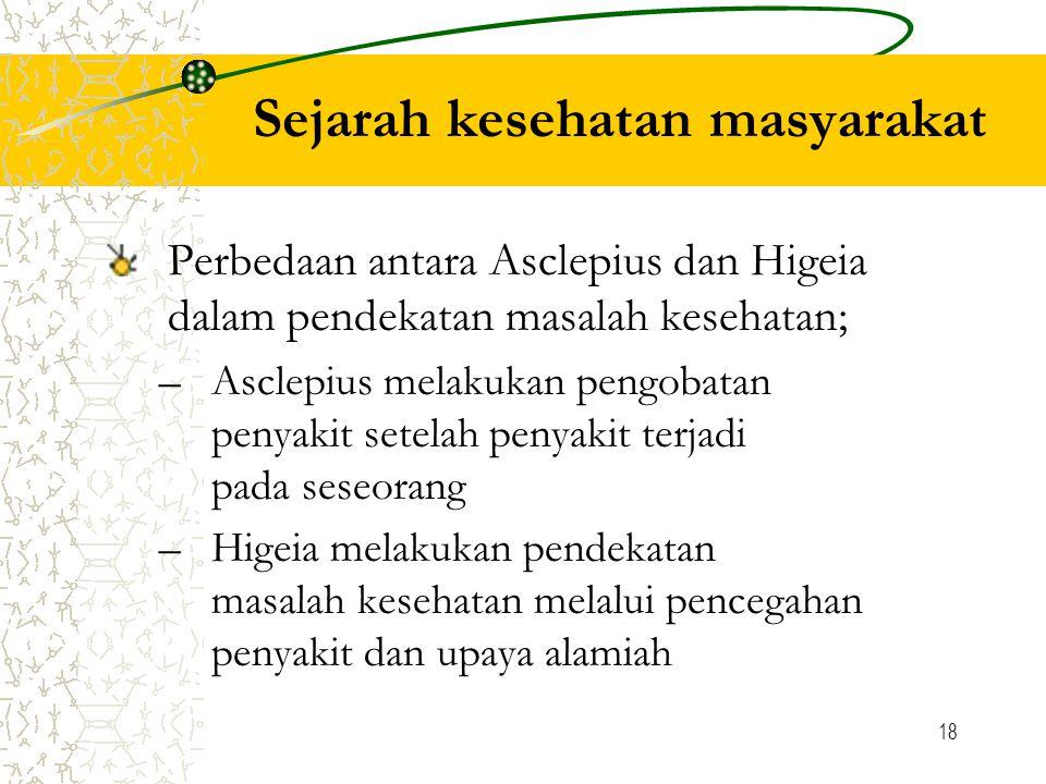 18 Sejarah kesehatan masyarakat Perbedaan antara Asclepius dan Higeia dalam pendekatan masalah kesehatan; –Asclepius melakukan pengobatan penyakit setelah penyakit terjadi pada seseorang –Higeia melakukan pendekatan masalah kesehatan melalui pencegahan penyakit dan upaya alamiah