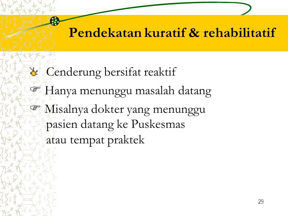 29 Pendekatan kuratif & rehabilitatif Cenderung bersifat reaktif  Hanya menunggu masalah datang  Misalnya dokter yang menunggu pasien datang ke Puskesmas atau tempat praktek