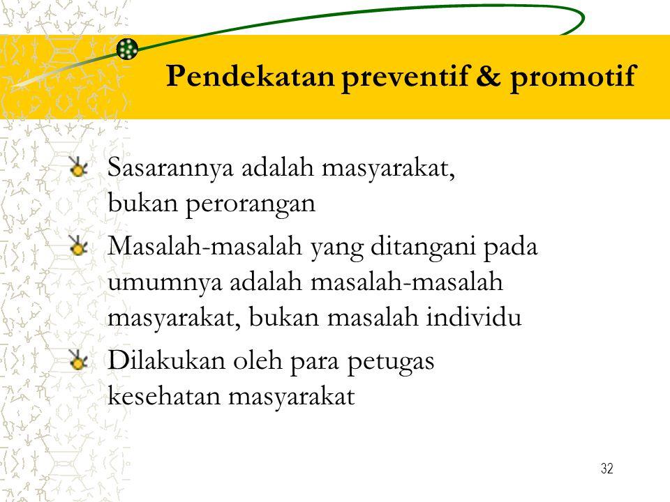 32 Pendekatan preventif & promotif Sasarannya adalah masyarakat, bukan perorangan Masalah-masalah yang ditangani pada umumnya adalah masalah-masalah masyarakat, bukan masalah individu Dilakukan oleh para petugas kesehatan masyarakat