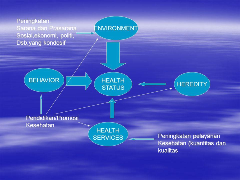 HEALTH STATUS ENVIRONMENT BEHAVIOR HEALTH SERVICES HEREDITY Peningkatan: Sarana dan Prasarana Sosial,ekonomi, politi, Dsb.yang kondosif Pendidikan/Pro