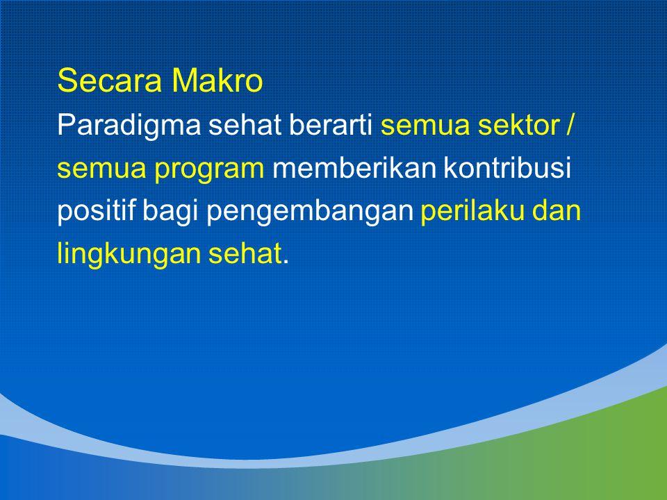 Secara Makro Paradigma sehat berarti semua sektor / semua program memberikan kontribusi positif bagi pengembangan perilaku dan lingkungan sehat.