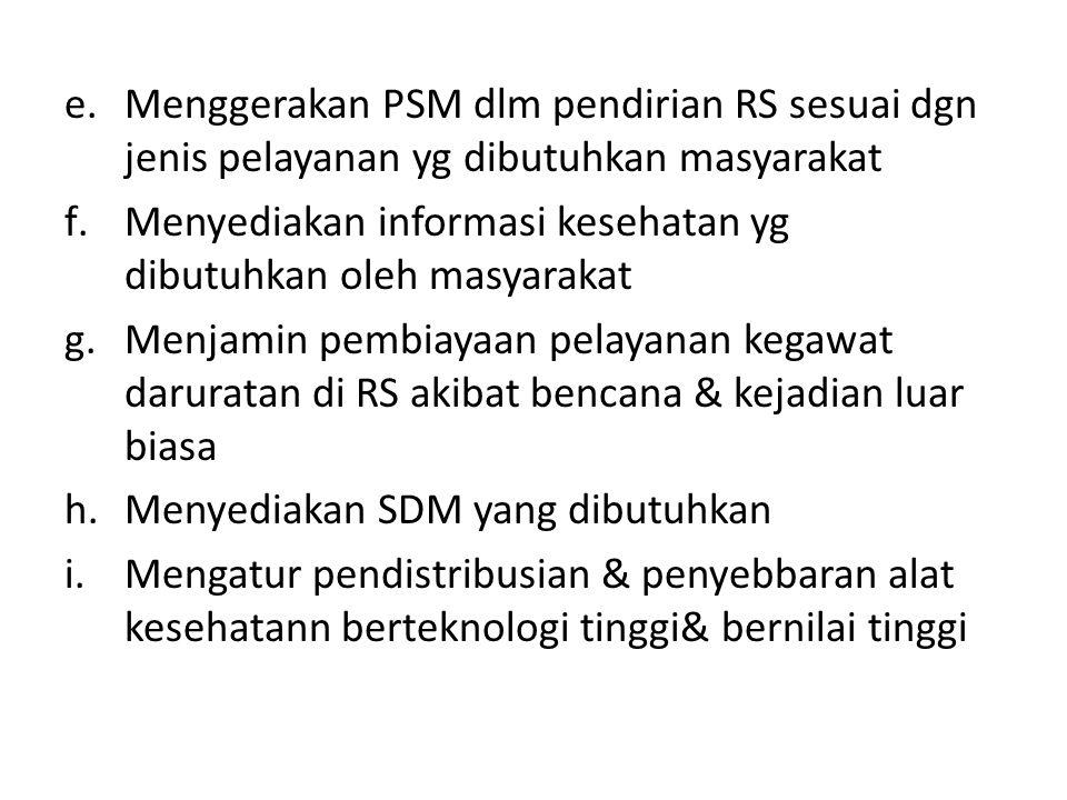 e.Menggerakan PSM dlm pendirian RS sesuai dgn jenis pelayanan yg dibutuhkan masyarakat f.Menyediakan informasi kesehatan yg dibutuhkan oleh masyarakat