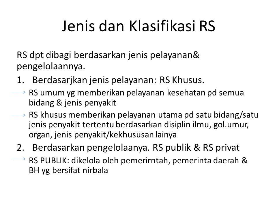 Jenis dan Klasifikasi RS RS dpt dibagi berdasarkan jenis pelayanan& pengelolaannya. 1.Berdasarjkan jenis pelayanan: RS Khusus. RS umum yg memberikan p
