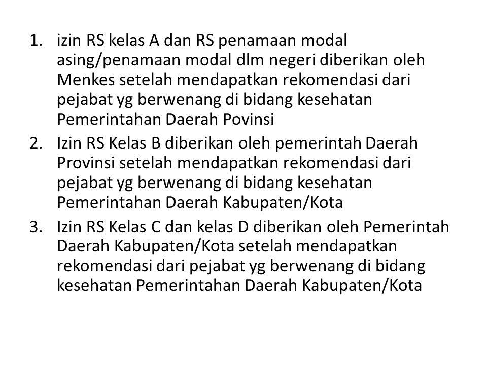 1.izin RS kelas A dan RS penamaan modal asing/penamaan modal dlm negeri diberikan oleh Menkes setelah mendapatkan rekomendasi dari pejabat yg berwenan