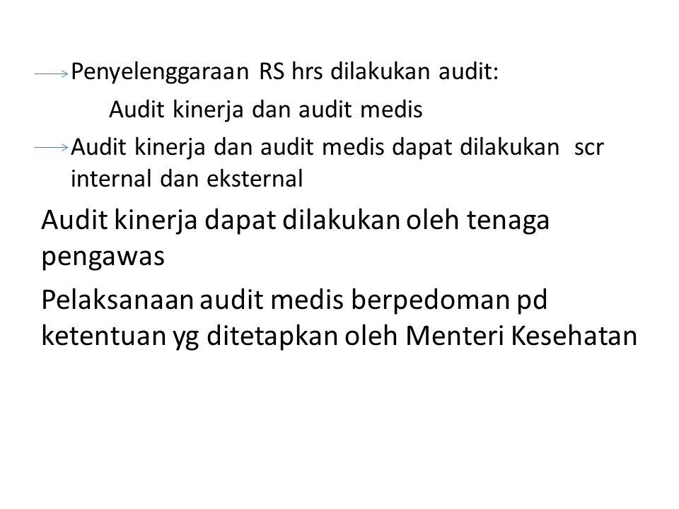 Penyelenggaraan RS hrs dilakukan audit: Audit kinerja dan audit medis Audit kinerja dan audit medis dapat dilakukan scr internal dan eksternal Audit k