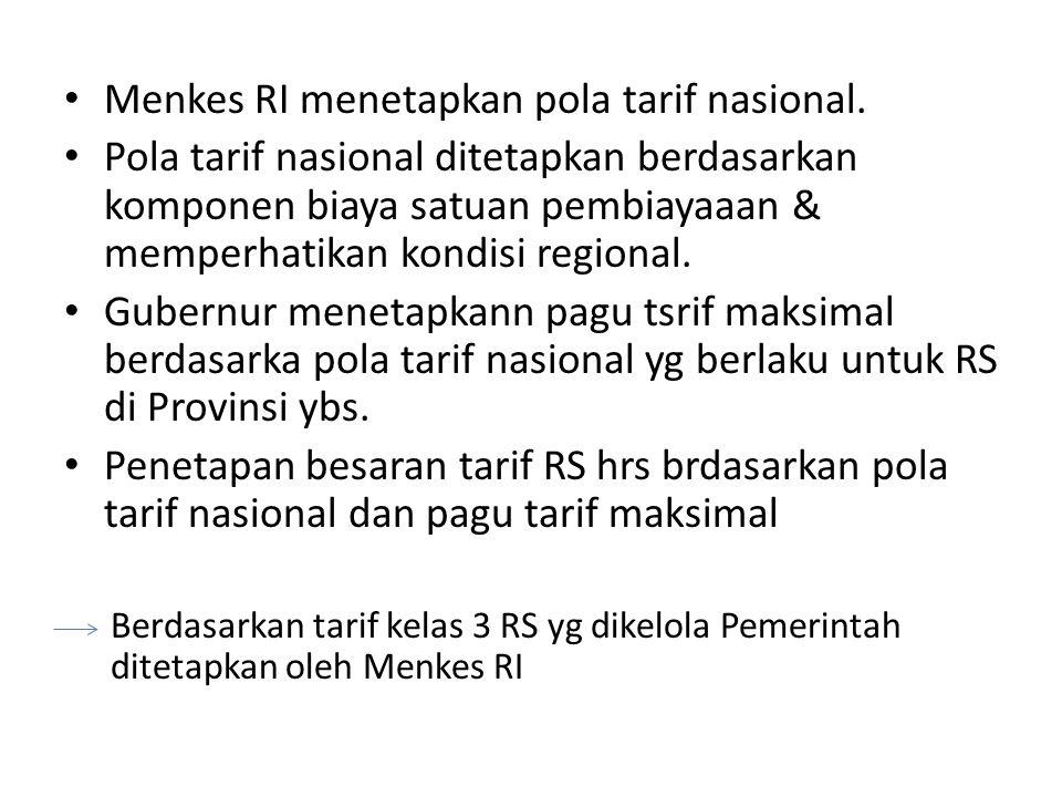 Menkes RI menetapkan pola tarif nasional. Pola tarif nasional ditetapkan berdasarkan komponen biaya satuan pembiayaaan & memperhatikan kondisi regiona