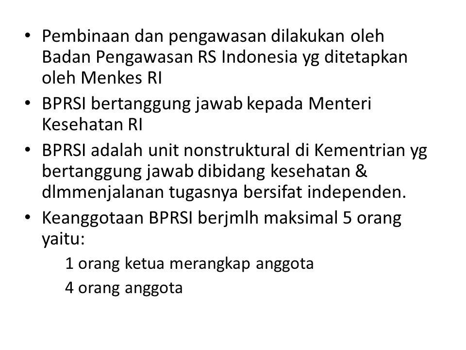 Pembinaan dan pengawasan dilakukan oleh Badan Pengawasan RS Indonesia yg ditetapkan oleh Menkes RI BPRSI bertanggung jawab kepada Menteri Kesehatan RI