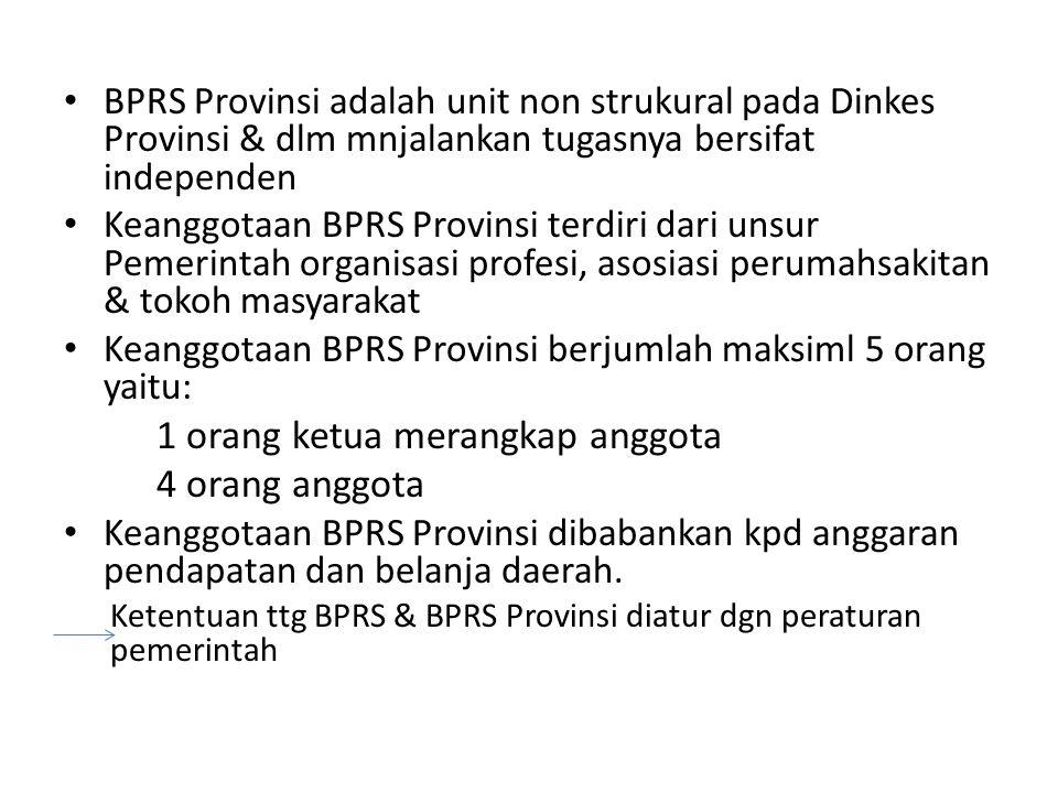BPRS Provinsi adalah unit non strukural pada Dinkes Provinsi & dlm mnjalankan tugasnya bersifat independen Keanggotaan BPRS Provinsi terdiri dari unsu