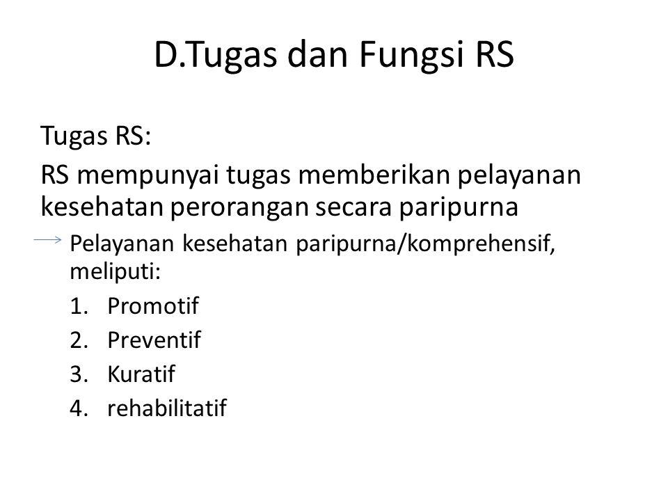 D.Tugas dan Fungsi RS Tugas RS: RS mempunyai tugas memberikan pelayanan kesehatan perorangan secara paripurna Pelayanan kesehatan paripurna/komprehens