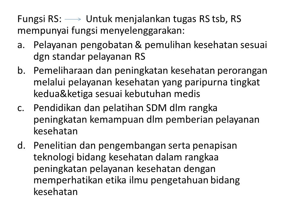 Pelanggaran atas kewajiban RS dikenakan sanks administratif berupa: a.Teguran b.Teguran tertulis, atau c.Denda dan pencabutan izin RS Ketentuan lebuh lanjut mengenai kewajiban RS diatur Peraturan Menteri