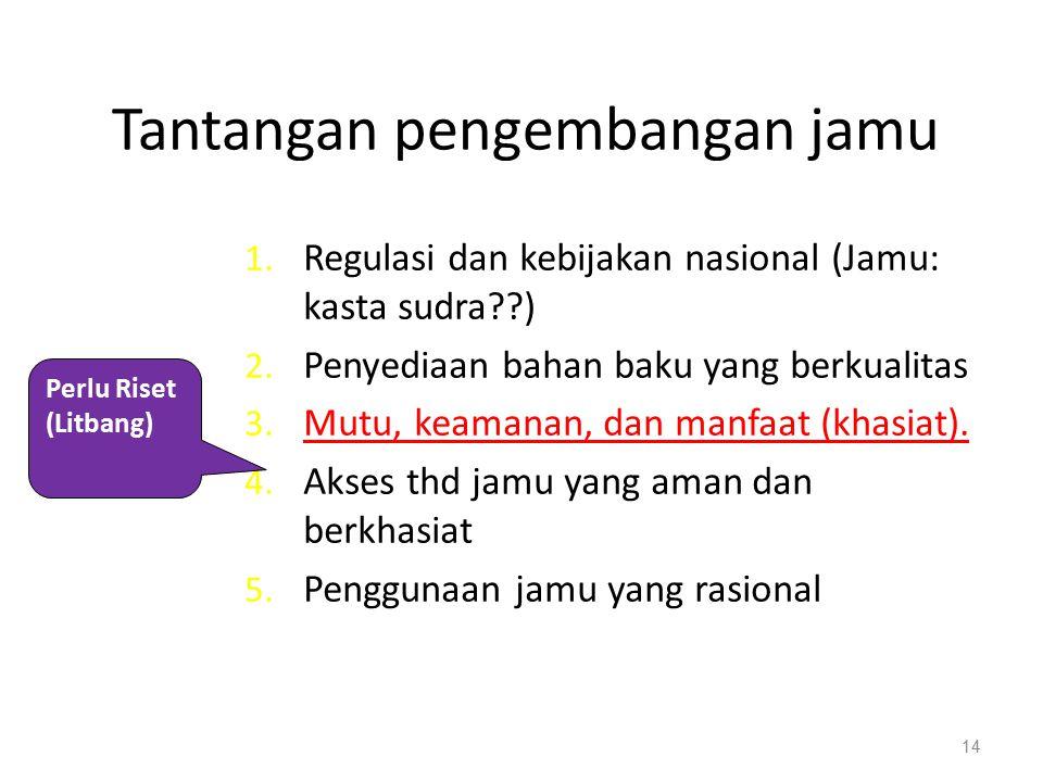 15 Visi Visi Komite Nasional Saintifikasi Jamu adalah menjadikan jamu sebagai brand Indonesia dan mengembangkan jamu sebagai bagian dari Sistem Pengobatan Tradisional Indonesia (PTI) yang terintegrasi dalam sistem peyanan kesehatan formal