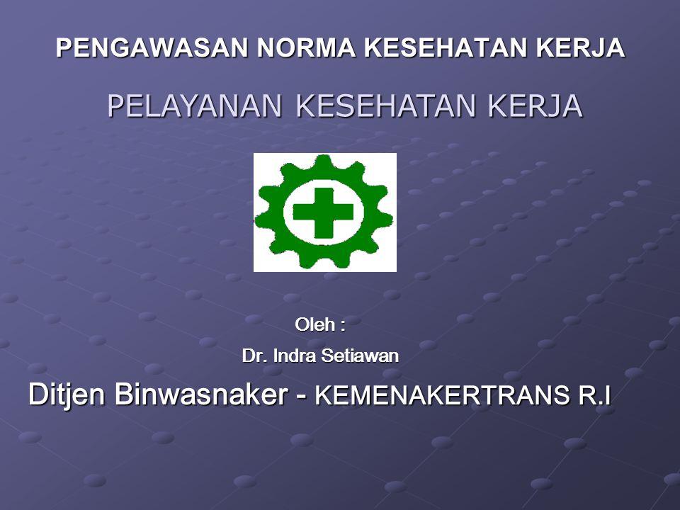 Oleh : Dr. Indra Setiawan Ditjen Binwasnaker - KEMENAKERTRANS R.I PENGAWASAN NORMA KESEHATAN KERJA PELAYANAN KESEHATAN KERJA