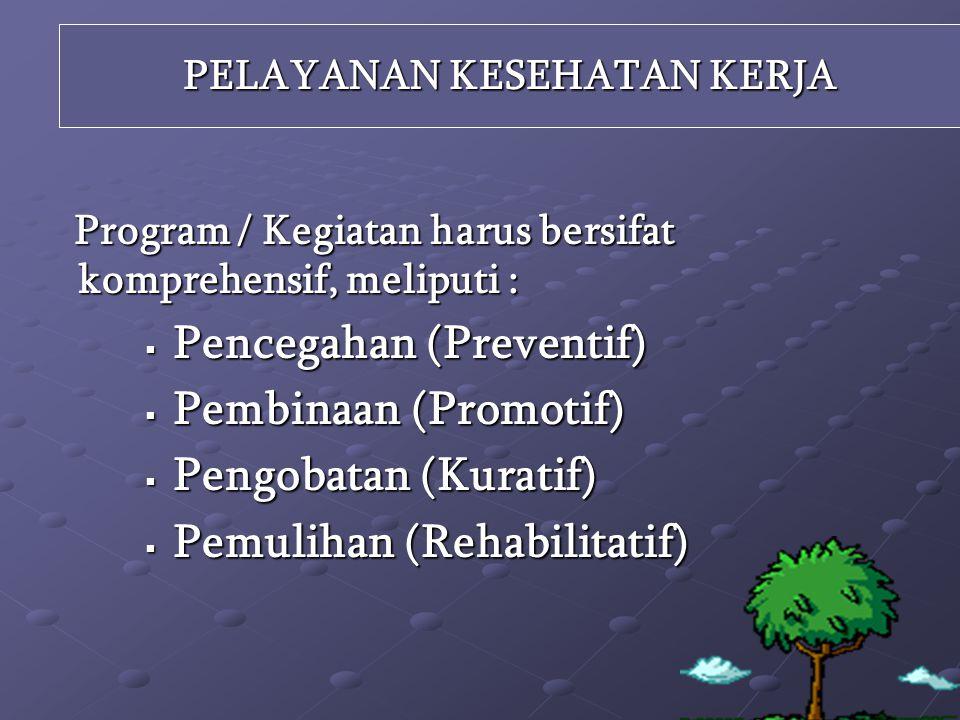 PELAYANAN KESEHATAN KERJA Program / Kegiatan harus bersifat komprehensif, meliputi :  Pencegahan (Preventif)  Pembinaan (Promotif)  Pengobatan (Kuratif)  Pemulihan (Rehabilitatif)