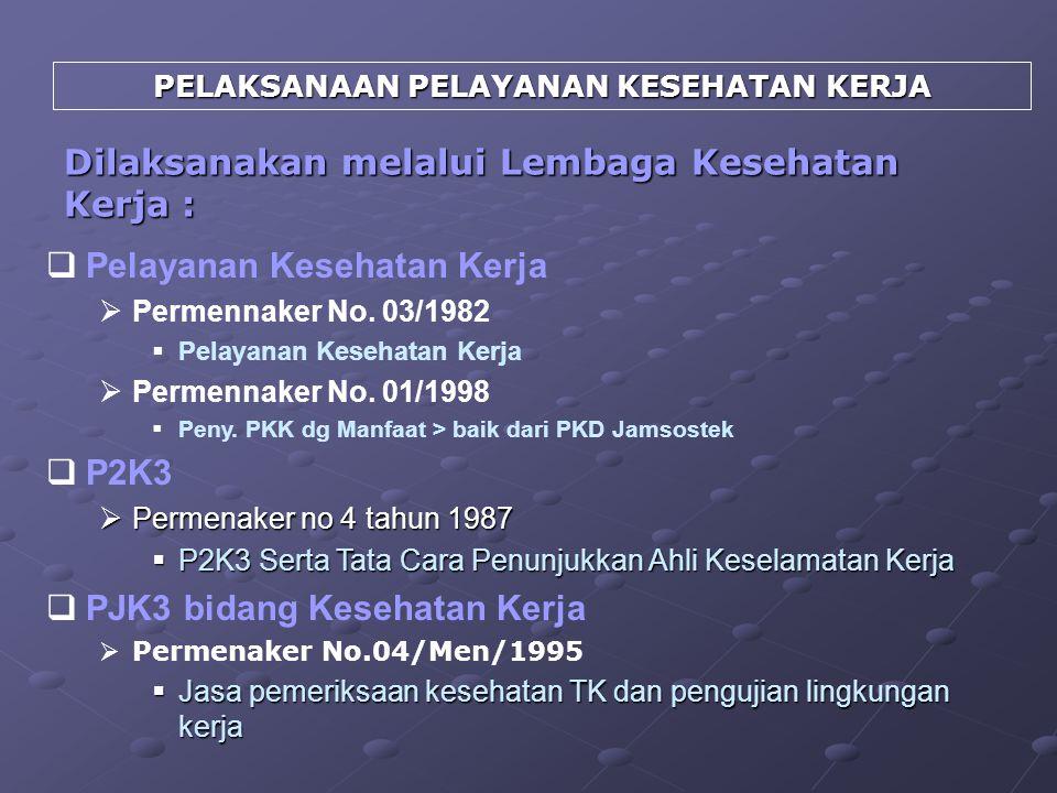 PELAKSANAAN PELAYANAN KESEHATAN KERJA  Pelayanan Kesehatan Kerja  Permennaker No. 03/1982  Pelayanan Kesehatan Kerja  Permennaker No. 01/1998  Pe