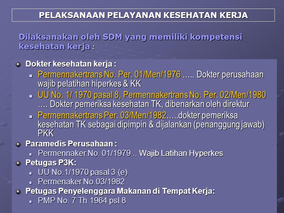 Dilaksanakan oleh SDM yang memiliki kompetensi kesehatan kerja : Dokter kesehatan kerja : Permennakertrans No. Per. 01/Men/1976 ….. Dokter perusahaan