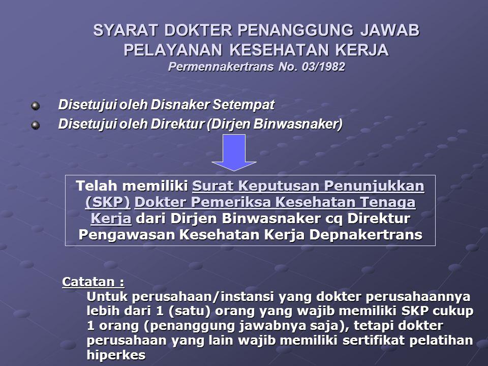 SYARAT DOKTER PENANGGUNG JAWAB PELAYANAN KESEHATAN KERJA Permennakertrans No. 03/1982 Disetujui oleh Disnaker Setempat Disetujui oleh Direktur (Dirjen