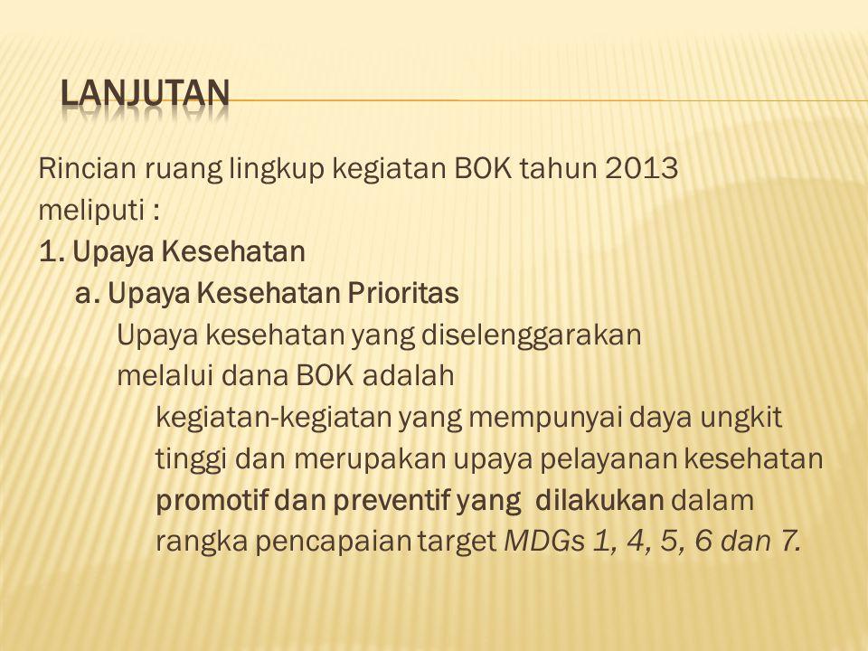 Pada tahun 2013, pemanfaatan dana BOK diprioritaskan pada kegiatan yang berdaya ungkit tinggi untuk pencapaian indikator MDGs bidang kesehatan. Propor