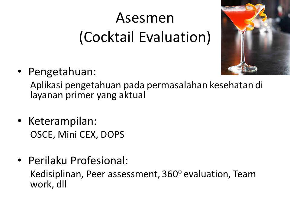 Asesmen (Cocktail Evaluation) Pengetahuan: Aplikasi pengetahuan pada permasalahan kesehatan di layanan primer yang aktual Keterampilan: OSCE, Mini CEX, DOPS Perilaku Profesional: Kedisiplinan, Peer assessment, 360 0 evaluation, Team work, dll