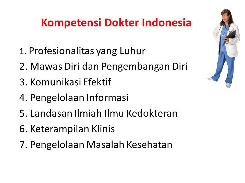 Kompetensi Dokter Indonesia 1.Profesionalitas yang Luhur 2.