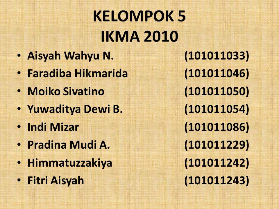 KELOMPOK 5 IKMA 2010 Aisyah Wahyu N.(101011033) Faradiba Hikmarida(101011046) Moiko Sivatino(101011050) Yuwaditya Dewi B.(101011054) Indi Mizar(101011