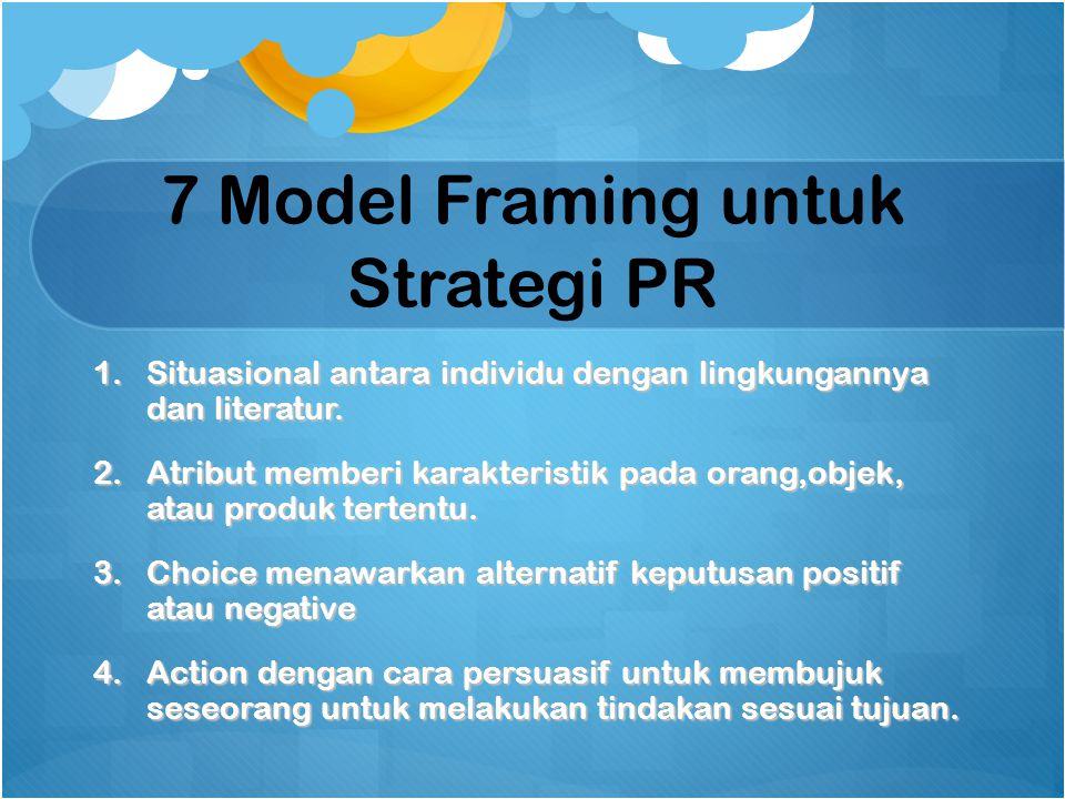 7 Model Framing untuk Strategi PR 1.Situasional antara individu dengan lingkungannya dan literatur. 2.Atribut memberi karakteristik pada orang,objek,