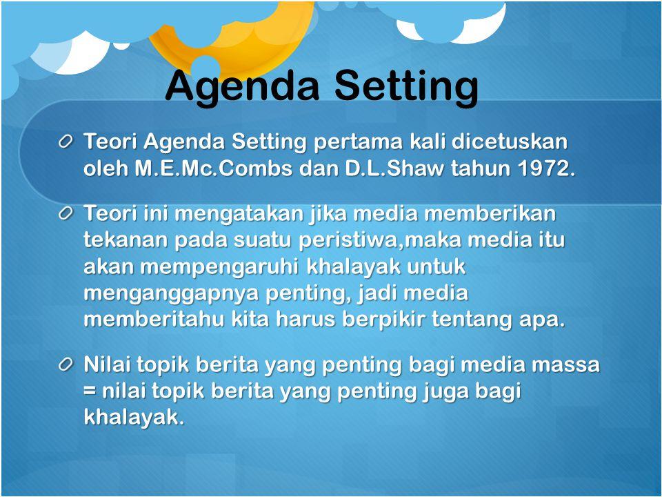Agenda Setting Teori Agenda Setting pertama kali dicetuskan oleh M.E.Mc.Combs dan D.L.Shaw tahun 1972. Teori ini mengatakan jika media memberikan teka