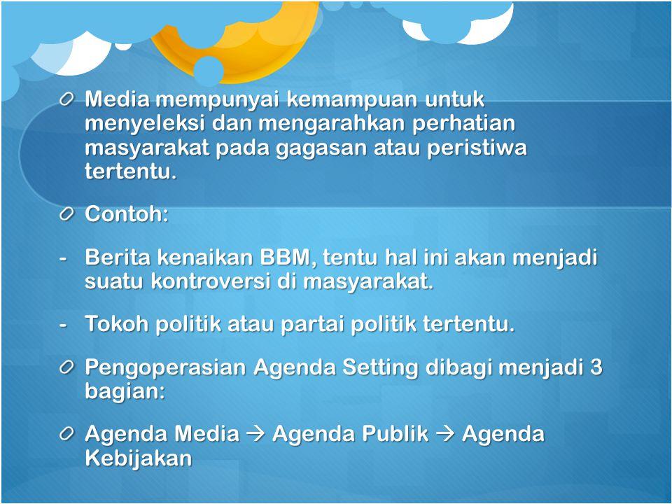 Media mempunyai kemampuan untuk menyeleksi dan mengarahkan perhatian masyarakat pada gagasan atau peristiwa tertentu. Contoh: -Berita kenaikan BBM, te