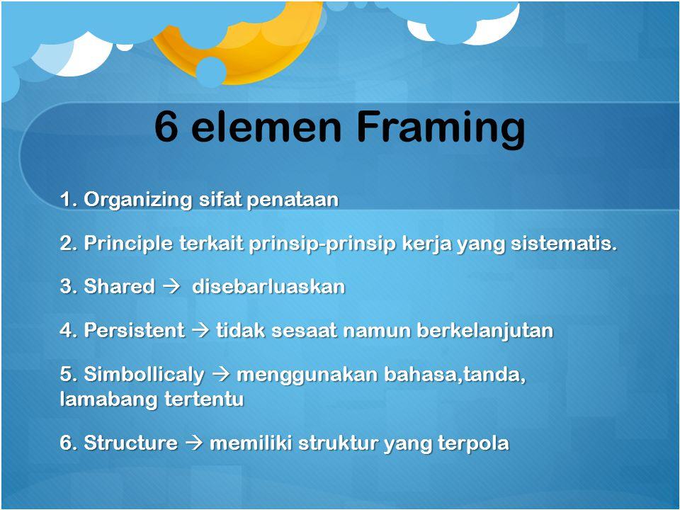6 elemen Framing 1. Organizing sifat penataan 2. Principle terkait prinsip-prinsip kerja yang sistematis. 3. Shared  disebarluaskan 4. Persistent  t
