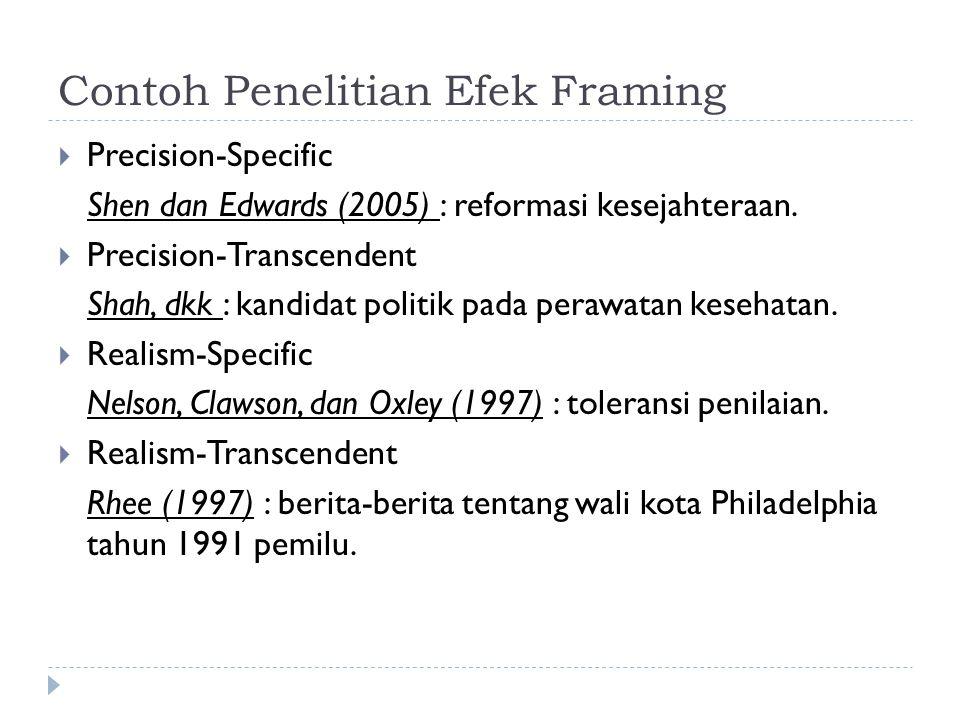 Contoh Penelitian Efek Framing  Precision-Specific Shen dan Edwards (2005) : reformasi kesejahteraan.  Precision-Transcendent Shah, dkk : kandidat p