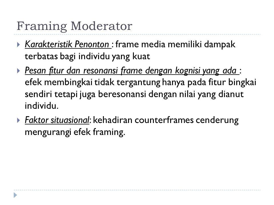 Framing Moderator  Karakteristik Penonton : frame media memiliki dampak terbatas bagi individu yang kuat  Pesan fitur dan resonansi frame dengan kog