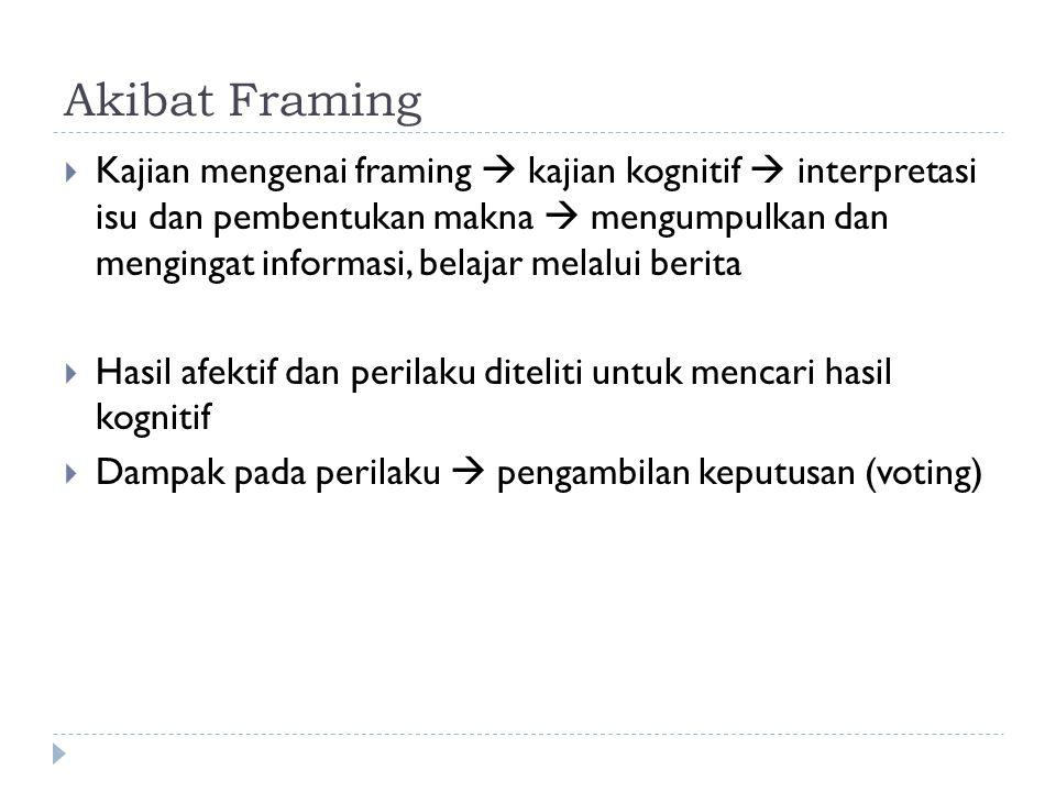 Akibat Framing  Kajian mengenai framing  kajian kognitif  interpretasi isu dan pembentukan makna  mengumpulkan dan mengingat informasi, belajar me