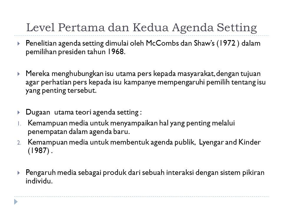 Level Pertama dan Kedua Agenda Setting  Level pertama dari agenda seting: Mengeksplore tingkat perhatian satu isu yang menonjol diantara masyarakat, namun tidak fokus pada perbedaan yang sedikit dari ulasan dalam suatu isu.