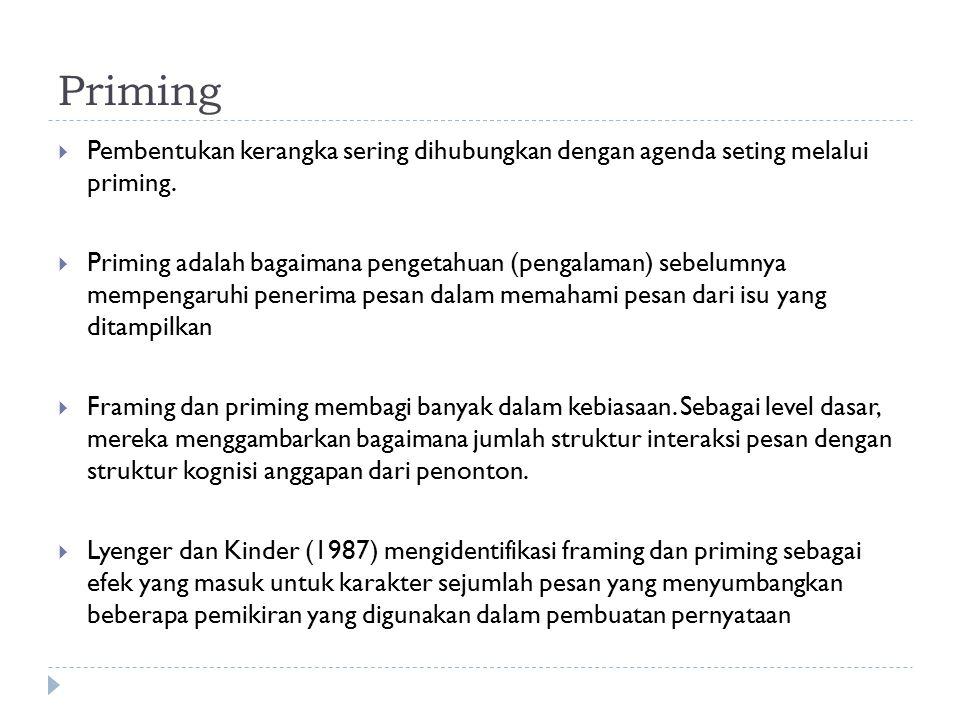 Priming  Pembentukan kerangka sering dihubungkan dengan agenda seting melalui priming.  Priming adalah bagaimana pengetahuan (pengalaman) sebelumnya