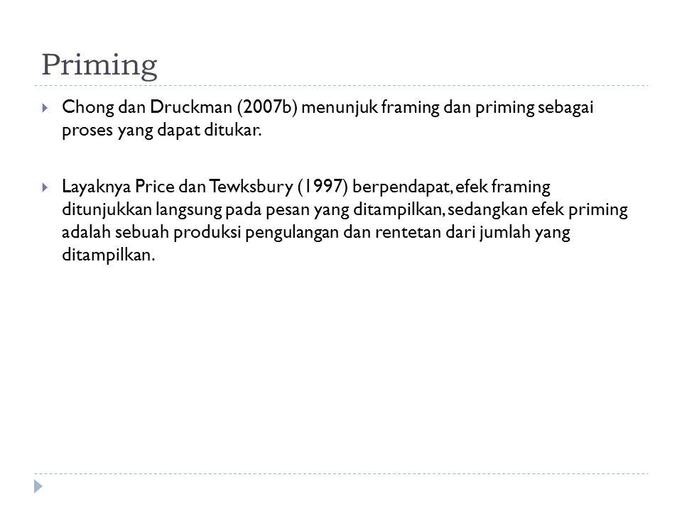 Priming  Chong dan Druckman (2007b) menunjuk framing dan priming sebagai proses yang dapat ditukar.  Layaknya Price dan Tewksbury (1997) berpendapat