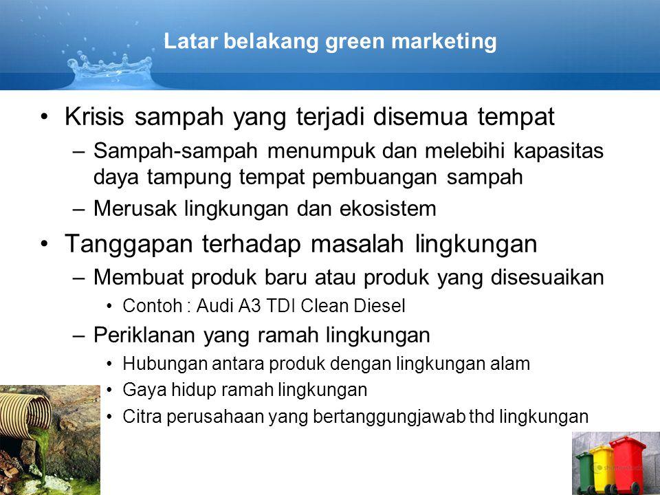 Latar belakang green marketing Krisis sampah yang terjadi disemua tempat –Sampah-sampah menumpuk dan melebihi kapasitas daya tampung tempat pembuangan