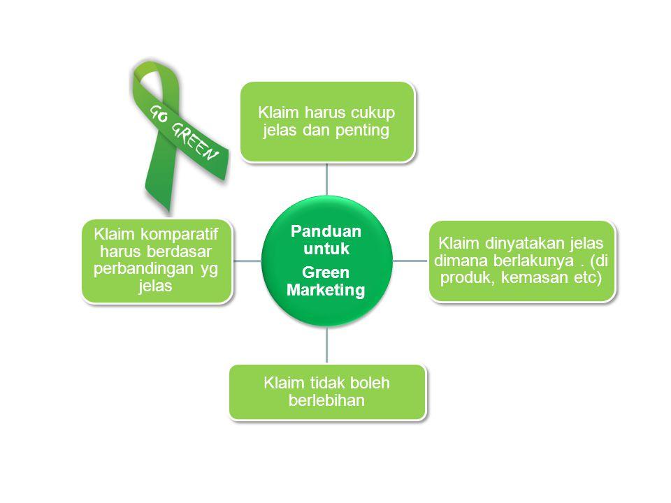 Panduan untuk Green Marketing Klaim harus cukup jelas dan penting Klaim dinyatakan jelas dimana berlakunya. (di produk, kemasan etc) Klaim tidak boleh