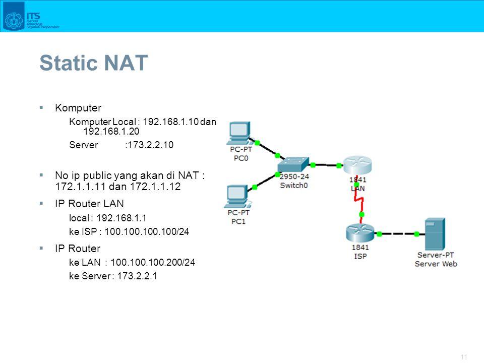 11 Static NAT  Komputer Komputer Local : 192.168.1.10 dan 192.168.1.20 Server :173.2.2.10  No ip public yang akan di NAT : 172.1.1.11 dan 172.1.1.12