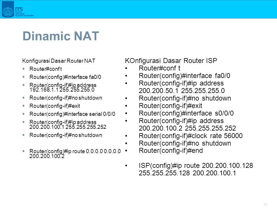 14 Dinamic NAT Konfigurasi Dasar Router NAT  Router#conf t  Router(config)#interface fa0/0  Router(config-if)#ip address 192.168.1.1 255.255.255.0