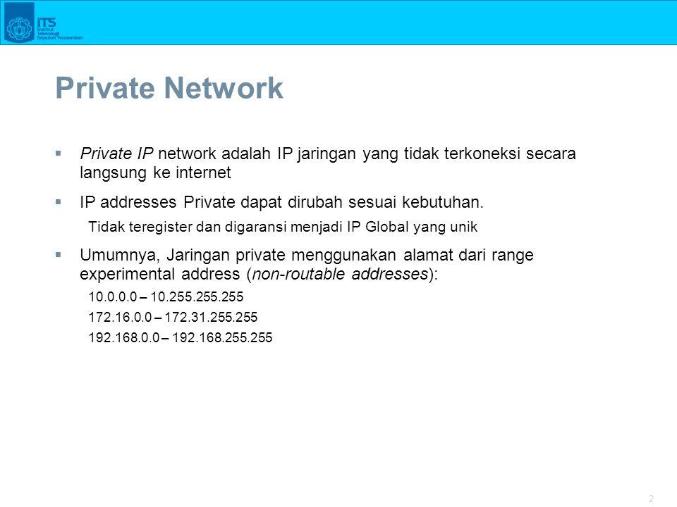 2 Private Network  Private IP network adalah IP jaringan yang tidak terkoneksi secara langsung ke internet  IP addresses Private dapat dirubah sesua