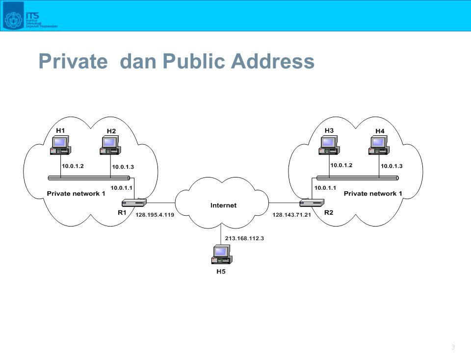 4 Network Address Translation (NAT)  NAT adaah sebuah fungsi router yang memetakan alamat IP private (Lokal) ke alamat IP yang dikenal di Internet, shg jaringan private bisa koneksi internet  NAT merupakan salah satu metode yang memungkinkan host pada alamat private bisa berkomunkasi dengan jaringan di internet  NAT jalan pada router yang menghubungkan antara private networks dan public Internet, dan menggantikan IP address dan Port pada sebuah paket dengan IP address dan Port yang lain pada sisi yang lain