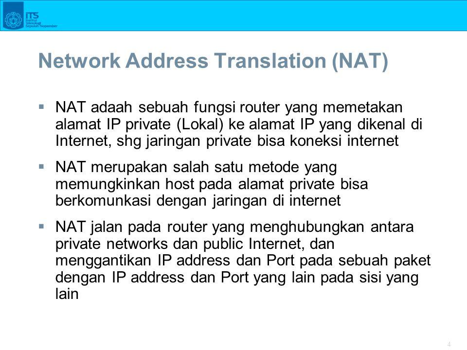 4 Network Address Translation (NAT)  NAT adaah sebuah fungsi router yang memetakan alamat IP private (Lokal) ke alamat IP yang dikenal di Internet, s