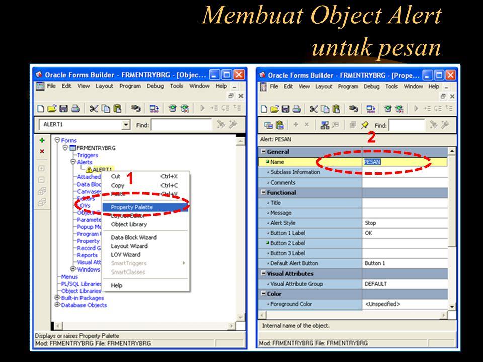 Membuat Object Alert untuk pesan 1 2