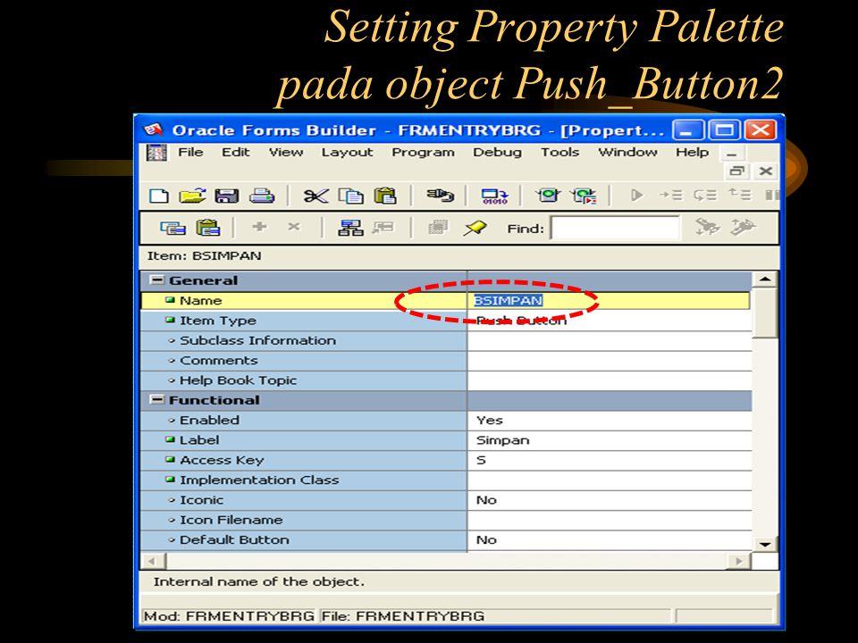 Setting Property Palette pada object Push_Button2