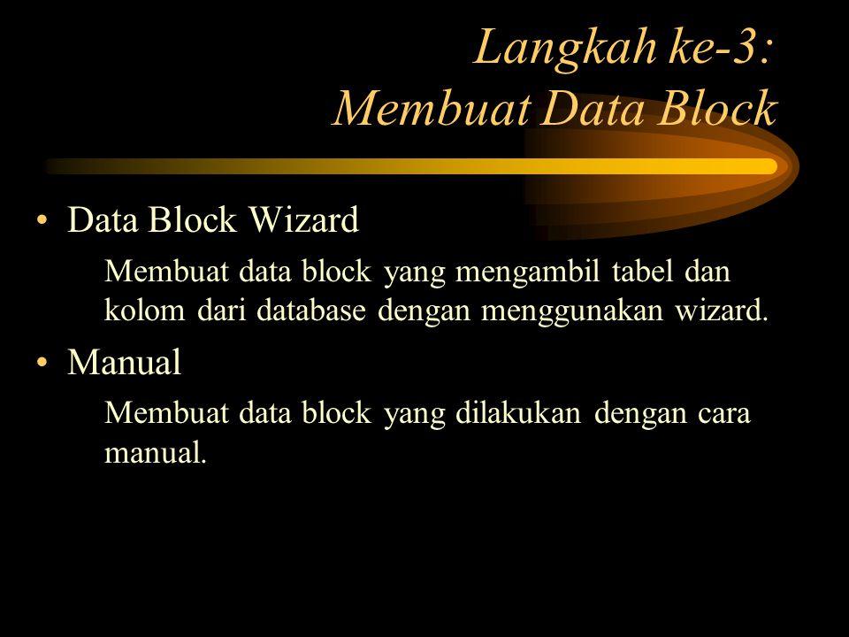 Langkah ke-3: Membuat Data Block Data Block Wizard Membuat data block yang mengambil tabel dan kolom dari database dengan menggunakan wizard. Manual M