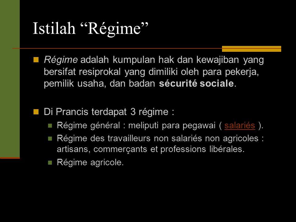 Istilah Régime Régime adalah kumpulan hak dan kewajiban yang bersifat resiprokal yang dimiliki oleh para pekerja, pemilik usaha, dan badan sécurité sociale.