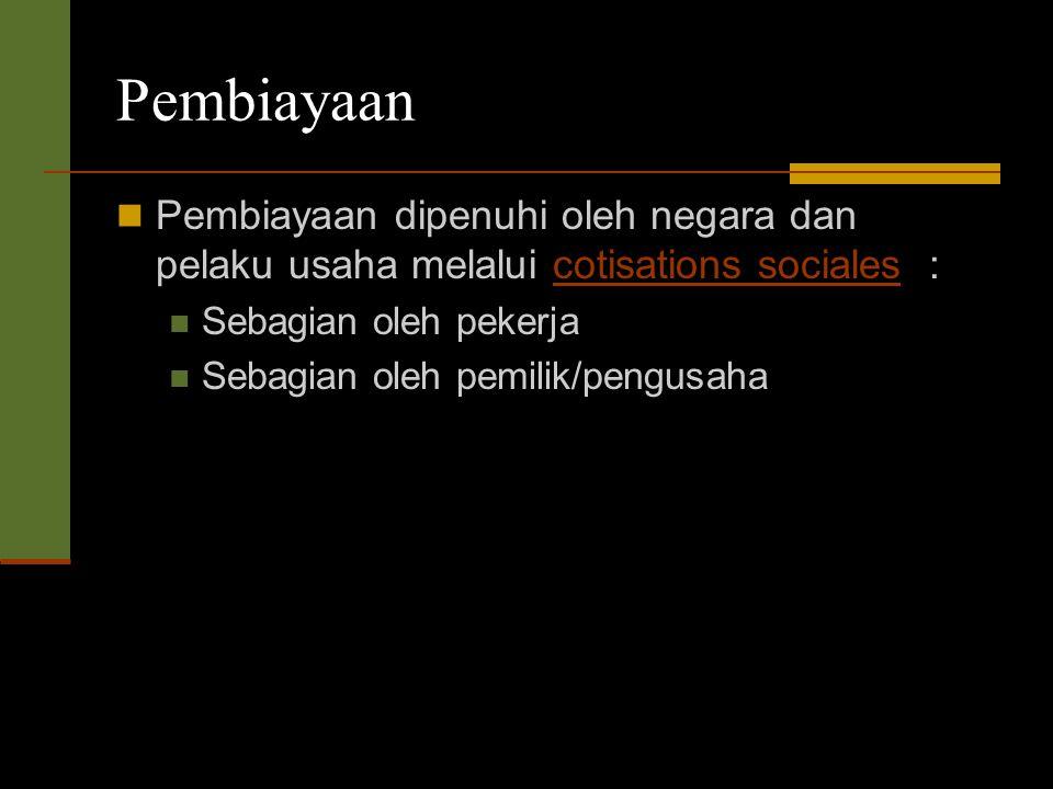 Pembiayaan Pembiayaan dipenuhi oleh negara dan pelaku usaha melalui cotisations sociales :cotisations sociales Sebagian oleh pekerja Sebagian oleh pemilik/pengusaha