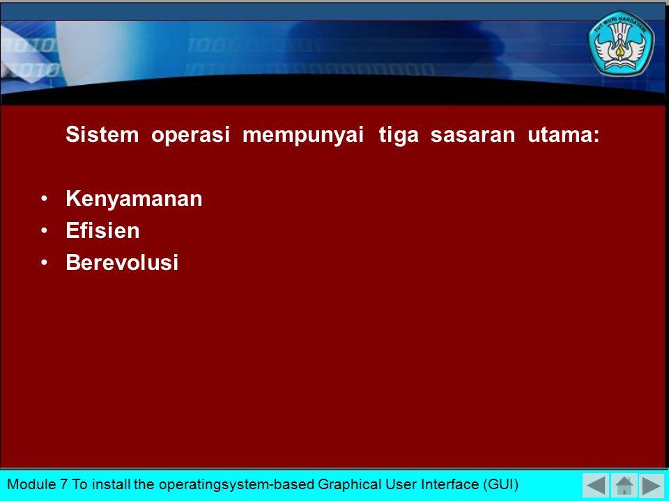 Sistem operasi mempunyai tiga sasaran utama: Kenyamanan Efisien Berevolusi Module 7 To install the operatingsystem-based Graphical User Interface (GUI)