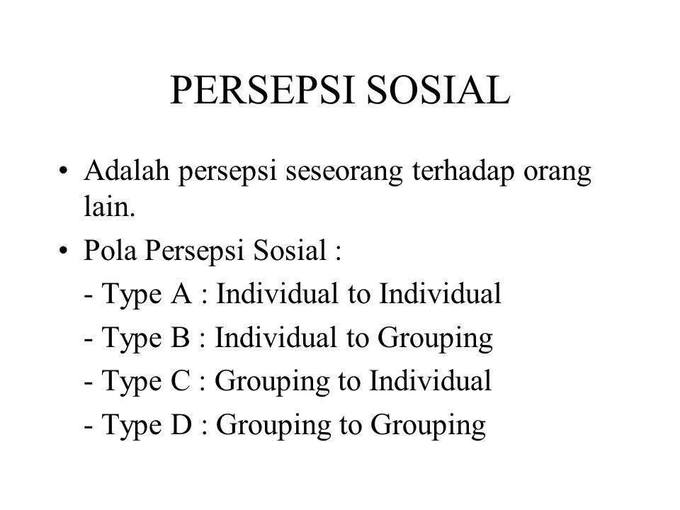 PERSEPSI SOSIAL Adalah persepsi seseorang terhadap orang lain. Pola Persepsi Sosial : - Type A : Individual to Individual - Type B : Individual to Gro