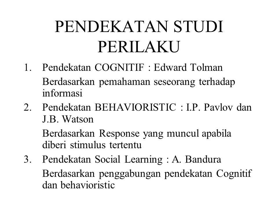 PENDEKATAN STUDI PERILAKU 1.Pendekatan COGNITIF : Edward Tolman Berdasarkan pemahaman seseorang terhadap informasi 2.Pendekatan BEHAVIORISTIC : I.P. P